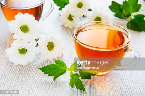 Beautiful cup of black tea with daisies : Stock Photo