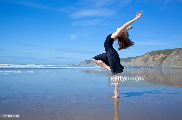 beautiful dancer at the beach