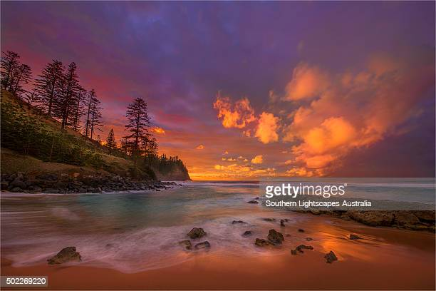A beautiful dawn at Cemetery bay near Kingston, Norfolk Island.
