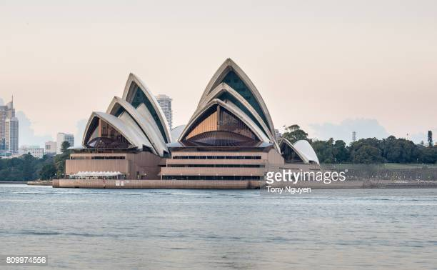 Sydney, Australia - April 15, 2017: Beautiful dawn over Opera House. Viewed from Wilson Point Wharf in Kirribilli, North Sydney.