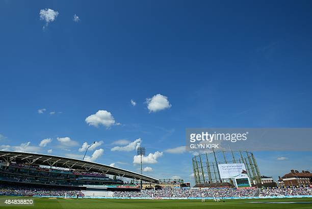 A beautiful day at the Oval as England are at the crease after Australia enforce a followon on the third day of the fifth Ashes cricket Test match...