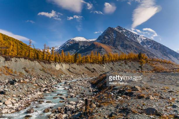 Beautiful day in a mountain valley in autumn