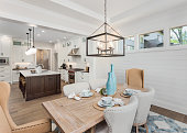 Dining Room and Kitchen Interior in New Luxury Home: Kitchen has Island, Sink, Cabinets, and Hardwood Floors. Dining Room has table with place settings. Pendant Lights accent Both Rooms