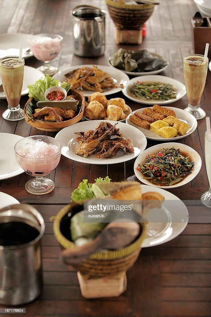 Beautiful displayed of Indonesia cuisine. : Stock Photo