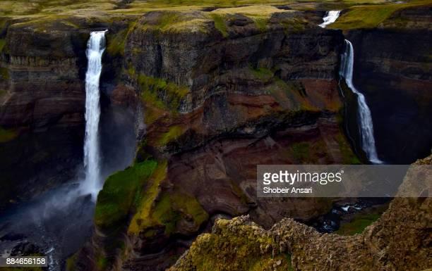 Beautiful Double Waterfalls of Haifoss, Iceland