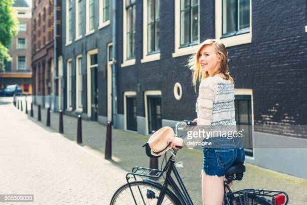 Beautiful Dutch woman on bike