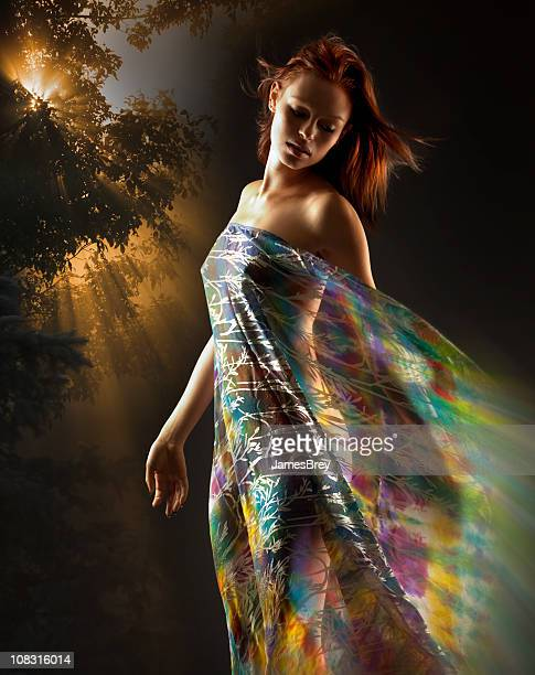 Beautiful Earth Goddess Woman; Mother Nature, Nude Girl, Colorful