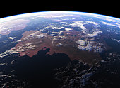 Beautiful Earth. View From Space. 3D Illustration. NASA Images Not Used.