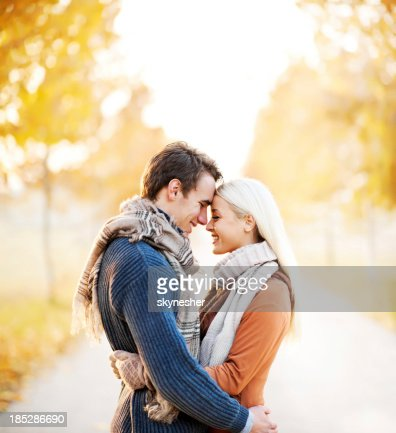 Beautiful embraced couple in the park