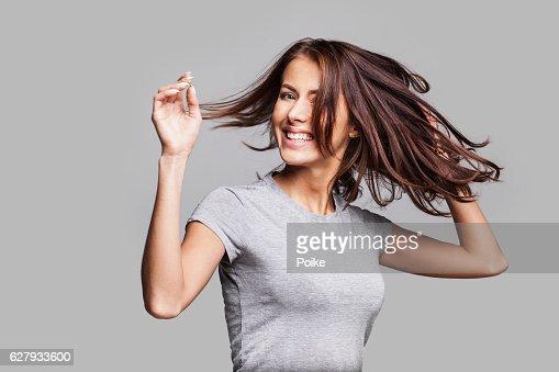 Beautiful emotional woman enjoying life : Stock-Foto
