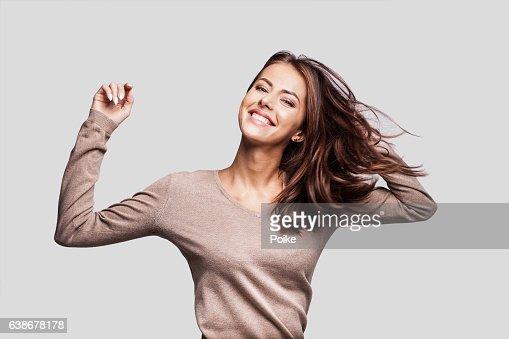 Beautiful emotional woman having fun : Stock-Foto