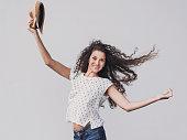 Beautiful girl dancing and enjoying life