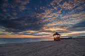 Beautiful sunset on the empty beach