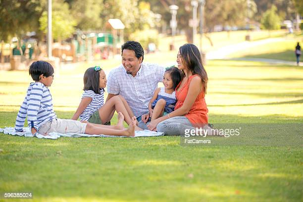 Beautiful ethnic family at the park