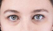 Close-up macro of female eye. Clean skin, good vision