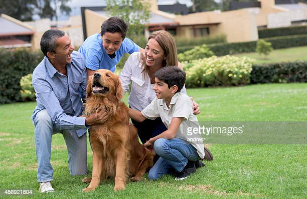 Beautiful family with a dog