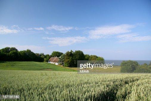 Beautiful farmland, old house and sea in Southern Jutland, Denmark