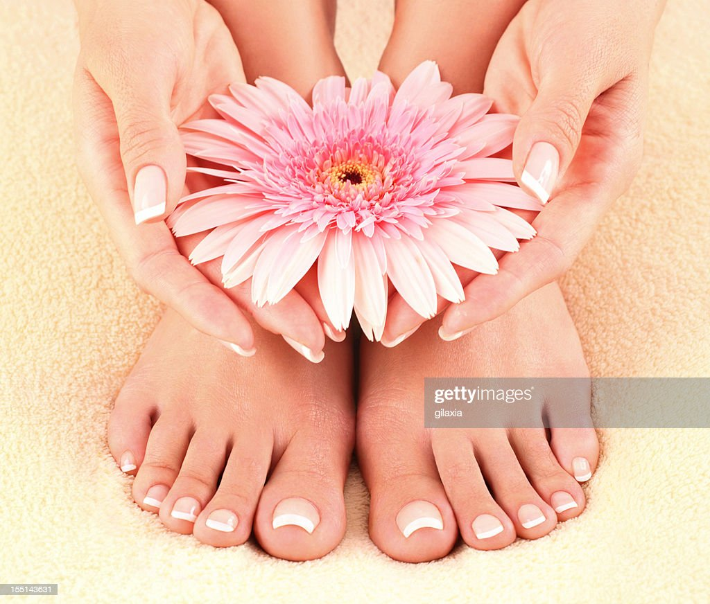 Free Manicure Beauty Hands Makeover: Beautiful Feet And Hands Stock Photo