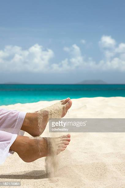 beautiful feet and sand