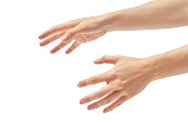 Beautiful female hand stifling gesture. Isolated on white background