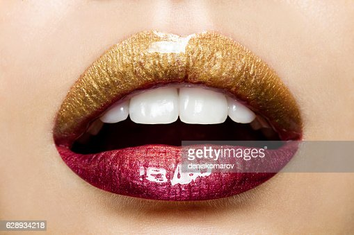 Beautiful female lips with a gradient coloring : Stock Photo