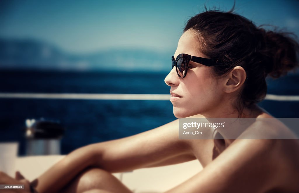 Beautiful female on the yacht : Stock Photo