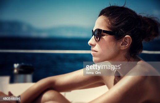Beautiful female on the yacht : Stock Photo