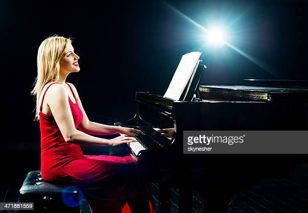 Beautiful female pianist.