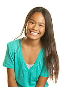 A beautiful Filipino girl smiling on a white background.  She has long hair and is eleven years old.