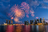 Beautiful fireworks in Marina Bay at Singapore
