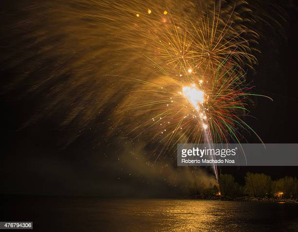 S BAY TORONTO ONTARIO CANADA Beautiful fireworks on the night the dark sky by the river Fireworks during Victoria Day in Ashbridge's Bay the Holiday...