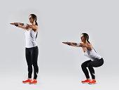 beautiful fitness woman working out, studio shot