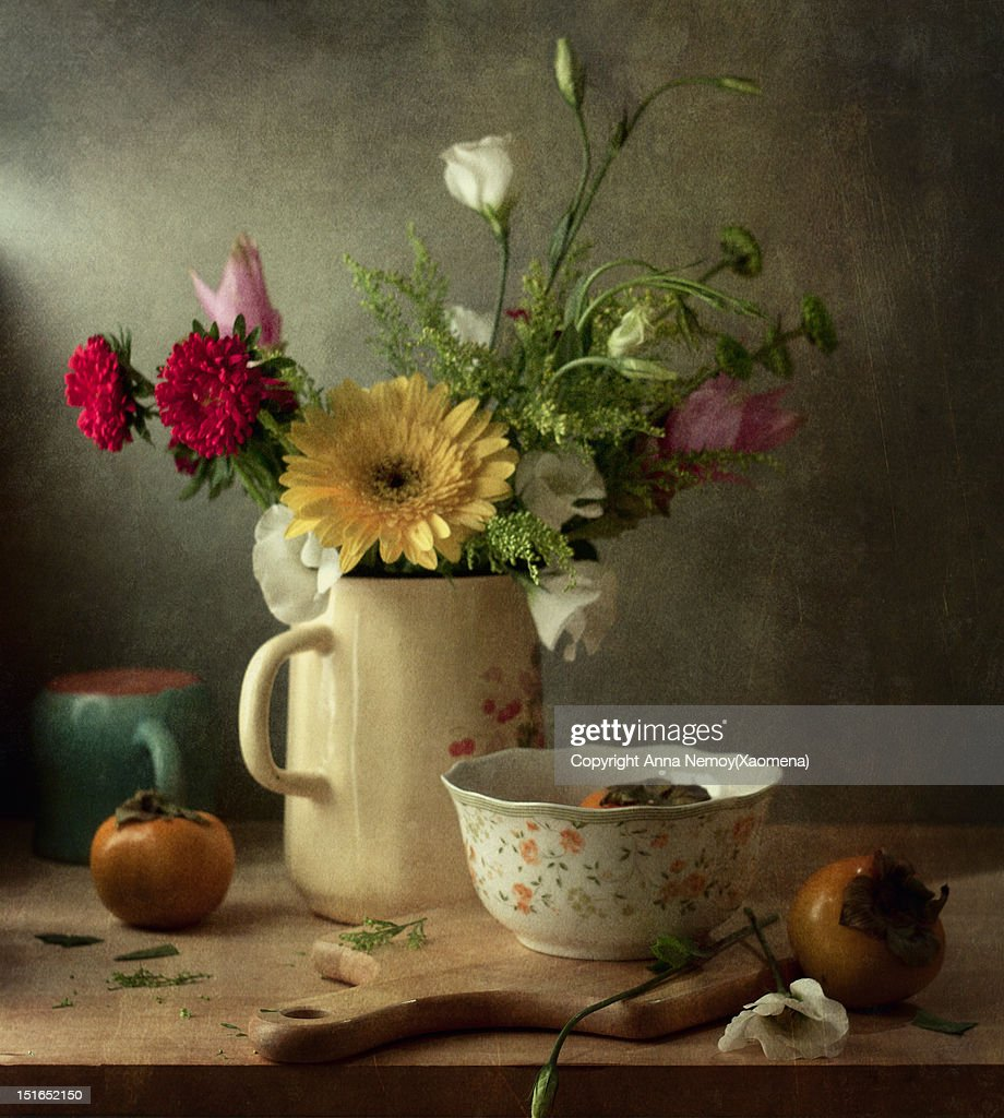Beautiful flower bouquet and fruits : Stock Photo