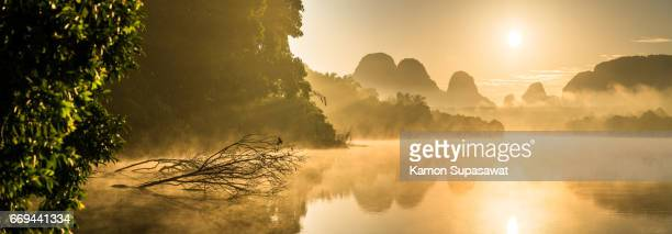 Beautiful fresh morning in panoramic scene and death tree with golden sunrise light to lake 'Nongtalae' in Krabi privince in Thailand