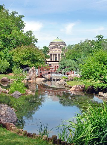 A Beautiful Garden And Water In The Osaka Garden In Chicago Stock ...