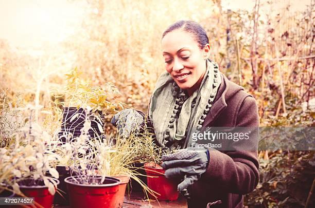 Beautiful Gardener Taking Care of the Garden