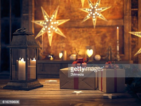 beautiful gift with Christmas ornaments. 3d rendering : Stock Photo