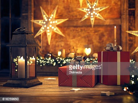 beautiful gift with Christmas ornaments. 3d rendering : Foto de stock