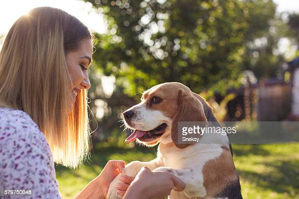 Beautiful Girl and a dog.