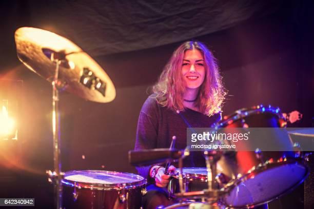 Beautiful girl drummer