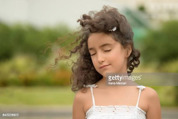 Beautiful girl in a public park