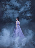 Beautiful, young, brunette in a luxurious, purple, long dress.  Fairy Photo. Creative toning. Queen walking in the fog.