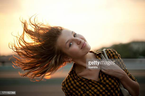 Beautiful girl in euphoria waves