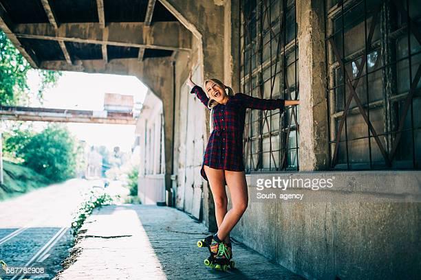 Beautiful girl on roller skates