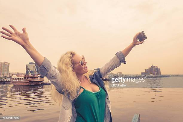 Beautiful Girl taking Selfie at Old Dubai