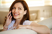 beautiful girl talking mobile phone at