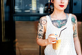 Beautiful Girl Tattoo Young Teenage Calm Casual Concept