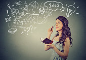 beautiful girl thinking planning. Portrait happy young woman thinking dreaming has many ideas looking up. Positive human face expression emotion feeling life perception. Decision making process.