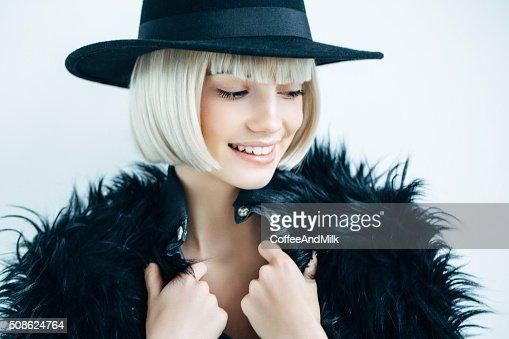 Beautiful girl wearing hat : Stock Photo
