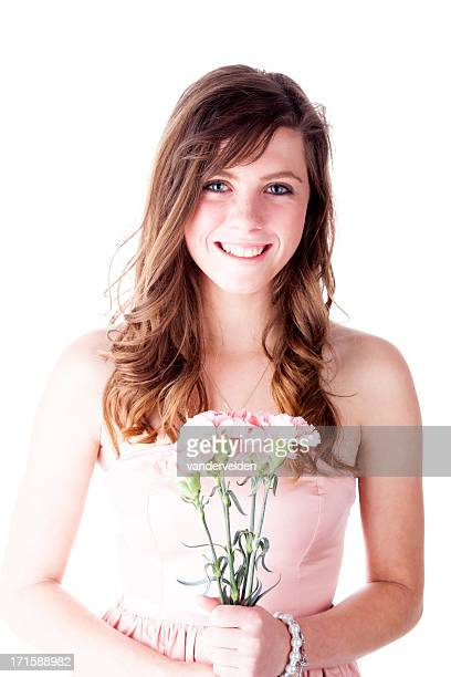 Beautiful Girl With Pink Carnations